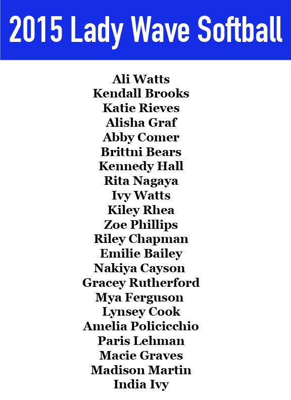 Lady Wave Sofball Roster