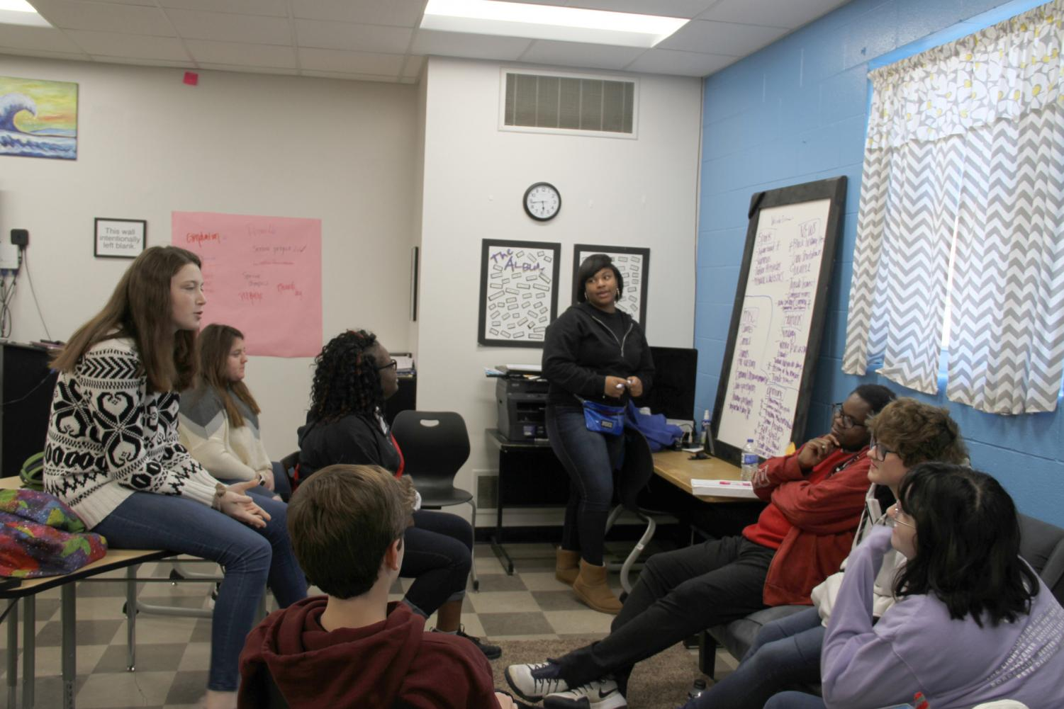 Miyaa White leads the rest of the Multi-Media Reporting class discussion in a Maestro session planning out the Winter Issue of the Hi-Times. The staff is trying to brainstorm interesting stories that are relevant and relatable to most THS Students.