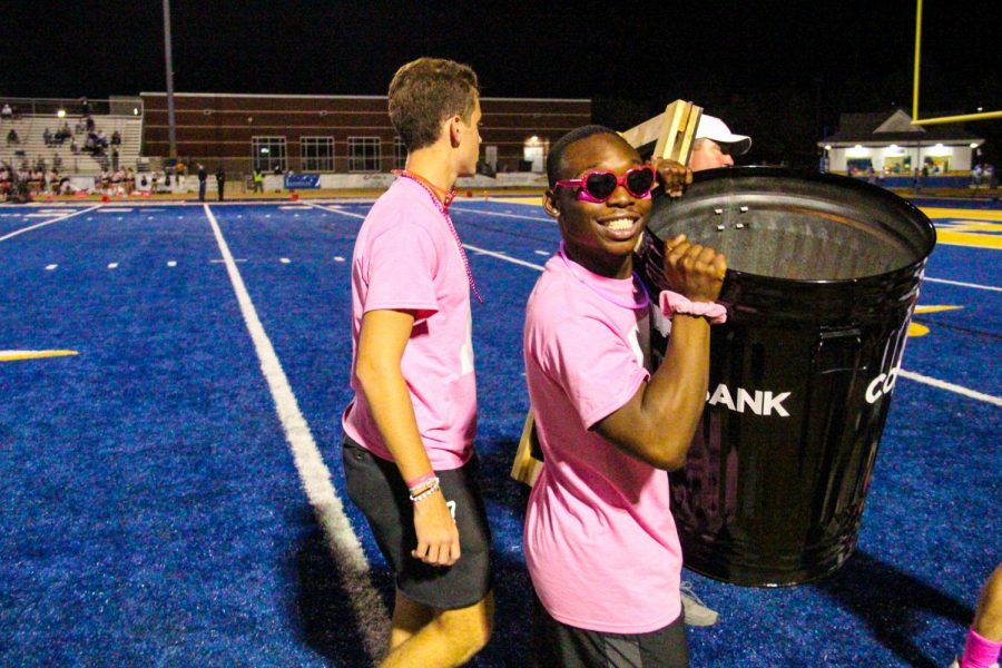 Kyion White and the Tupelo Boys help facilitate the Community Bank Challenge at the end of the first quarter at every home game.  During the Pink Out game Oct. 4,