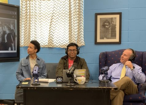Tupelo High School Principal Art Dobbs discusses photos from his high school yearbooks with the Tupelo Tea hosts, Rahul Day and Thomas McGaughy