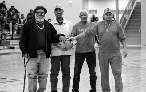 Members of the 1967 Carver High School State Championship Basketball Team Charles Bluitt, James Shell, Arvell Bailey and Jessie Shell are recognized at the Tupelo High School Basketball game on January 28.