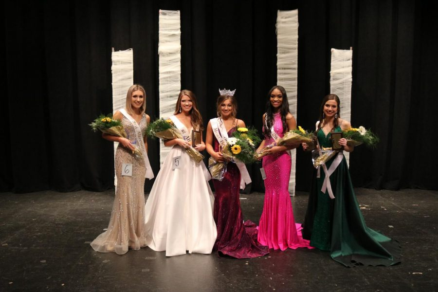 Seen here is third alternate Lilee Rose, first alternative Addie Harper, Most Beautiful 2020 Bailey Fulton, second alternative Malia Crump, and fourth alternative Erin Matthews.