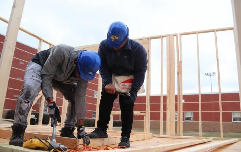 Construction class begins work on tiny house.