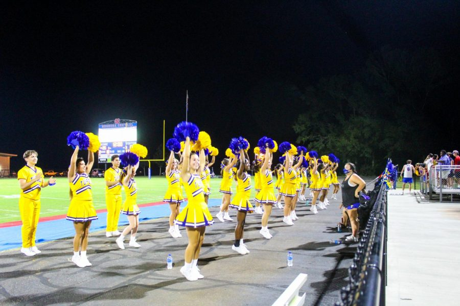 Mrs. Wheeler's cheer team keeps the school spirit going the whole game.
