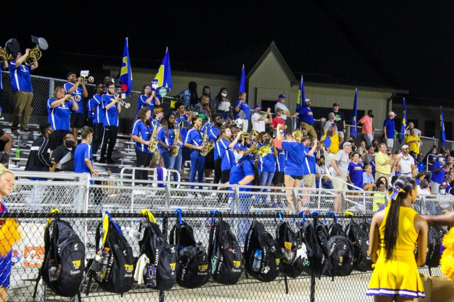 The band and the cheer leaders show the Neshoba Rockets that Tupelo will not go down without a fight.