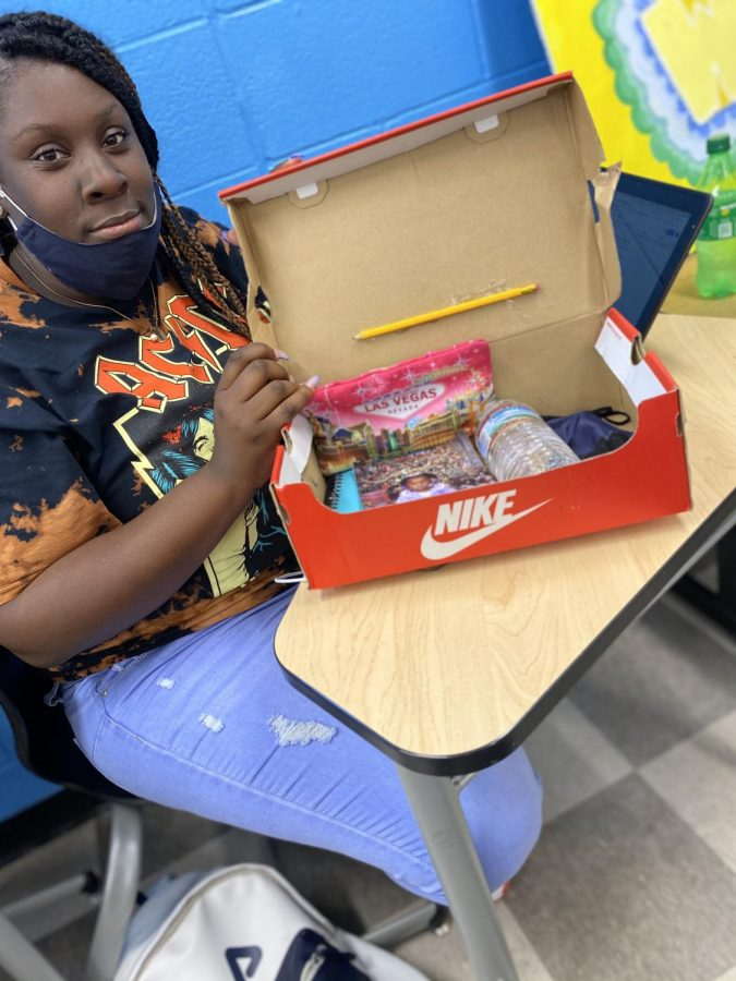 Najwa Hinton shows off her time capsule.