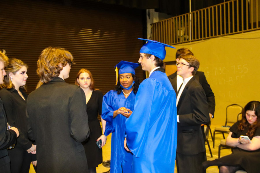 Tupelo High School Class of 2021 Graduation at BancorpSouth Arena, May 21, 2021.  MadJazz members celebrate with their senior members.