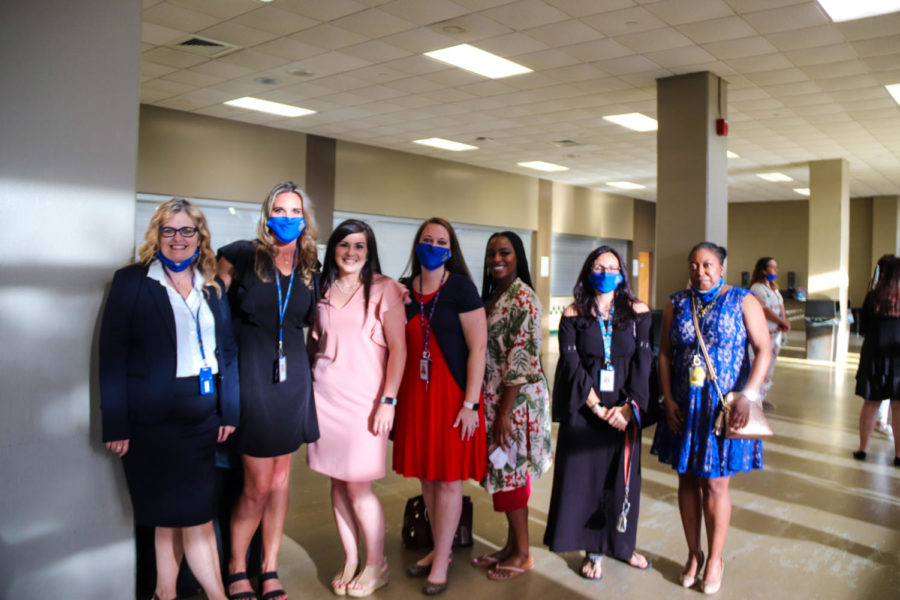 Tupelo High School Class of 2021 Graduation at BancorpSouth Arena, May 21, 2021.  English Teachers wait to see the graduates process through the concourse.
